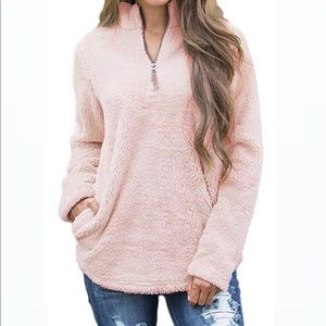 Light Pink Half Zip Sherpa